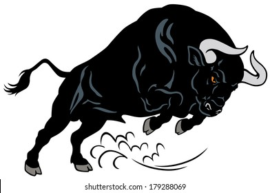 angry bull, attacking pose, image isolated on white background