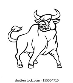 Angry Bull Black and White