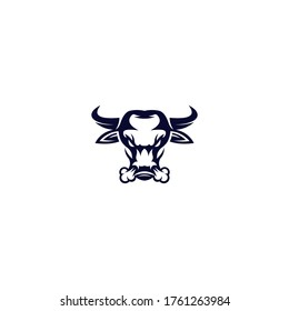 angry bull head logo design