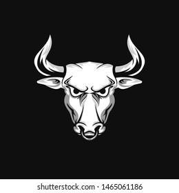 Angry bull head mascot logo design. Strong logo