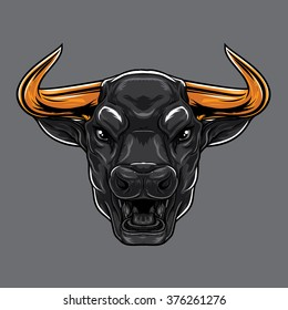 Angry Bull with open mouth. Sharp gold horns
