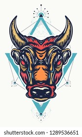 Angry bull t-shirt design. Minotaur, symbol of bravery, fight, hero, army
