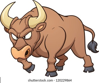 Angry bull. Vector clip art illustration with simple gradients. All in a single layer.