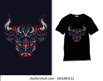 Angry bull vector. Bull robot illustration