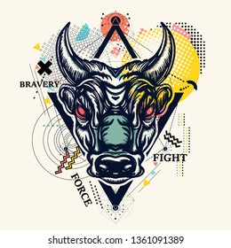 Angry bull  zine culture style contemporary collage. Minotaur, symbol of bravery, fight, hero, army