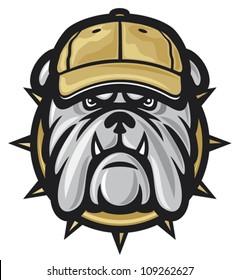 angry bulldog head and baseball cap