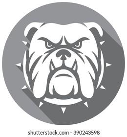 angry bulldog head flat icon