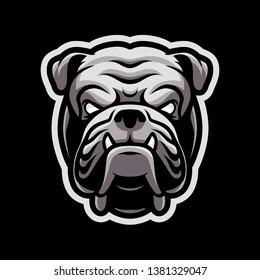 angry bulldog head for sport and esport gaming mascot logo