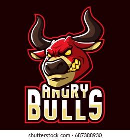 Angry bulls sign and symbol logo vector.