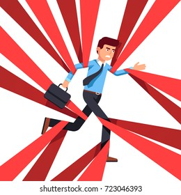 Angry business man running forward & overcoming or entangling in red tape. Business metaphor of bureaucracy hindrances. Flat vector illustration isolated on white background.