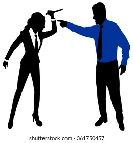 angry business man screaming at a woman holding a Knife