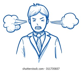 Angry business man with steam coming out of the ears, concept for stress, burnout, headache, too much work, hand drawn doodle vector illustration