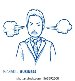 Angry business man with steam coming out of the ears, concept for stress, burnout, headache, too much work. Hand drawn line art cartoon vector illustration.