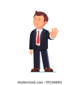 Angry business man or strict boss standing and rejecting something with stop hand gesture. Flat style modern vector illustration isolated on white background.