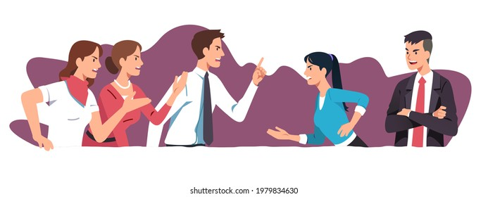 Angry business men, women colleagues team arguing having dispute fight. Managers people discuss business issues, shout, gesture. Disagreement, conflict, teamwork problem flat vector illustration
