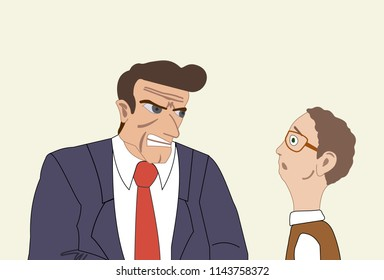 Angry businessman attacking his colleague. Mobbing, harassment, bullying at the workplace, Vector illustration.