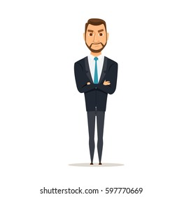 Angry businessman with crossed arms.  A man is standing with hands folded. Manager or boss in a discontented position