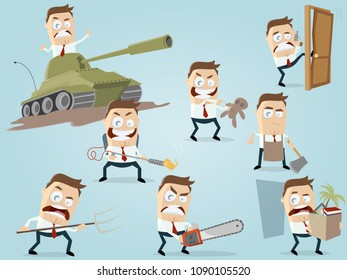 angry businessman in different situations