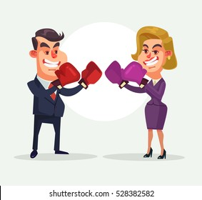 Angry businessman fighting against businesswoman character. Vector flat cartoon illustration