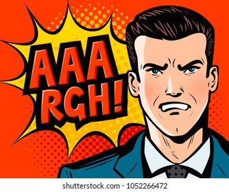 Angry businessman or man in business suit. Pop art retro comic style. Cartoon vector illustration