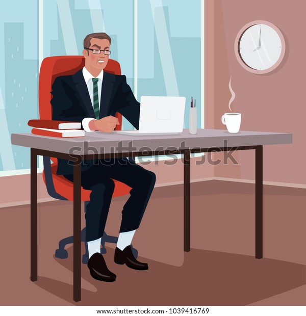 Angry businessman sitting on red armchair in office. Disgruntled man in business suit in workplace. Trouble or Problem concept. Simplistic realistic cartoon style. Vector illustration