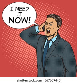 Angry businessman speaks by phone pop art style vector illustration. Comic book style imitation. Conceptual illustration