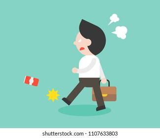 angry businessman walking and kick can, flat design character