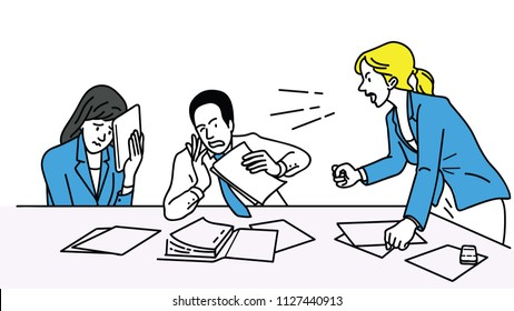 Angry businesswoman, boss or manager, holding fists, shouting to her team at meeting table. Outline, linear, thin line art, hand drawn sketch design, simple style.