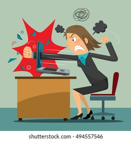 Angry businesswoman punching computer, vector illustration cartoon
