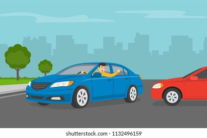 Angry car driver yelling to other driver. Flat vector illustration.