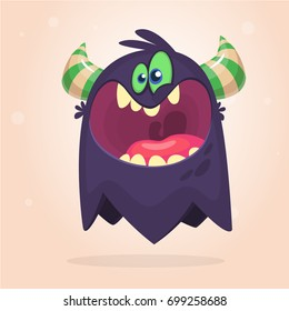 Angry cartoon black monster. Yelling angry monster expression. Halloween vector illustration