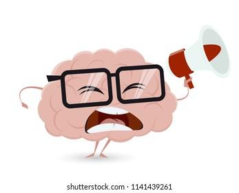angry cartoon brain with loudhailer