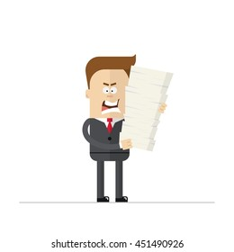 Angry cartoon businessman or manager during the overtime. A man in a business suit and tie holds a lot of paperwork . Man dissatisfied with his work. Crazy character . Isolated on white background.