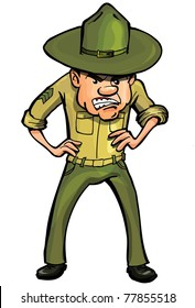 Angry cartoon drill sergeant. Isolated on white