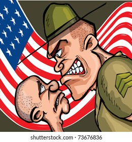 Angry cartoon drill sergeant screaming at a cadet