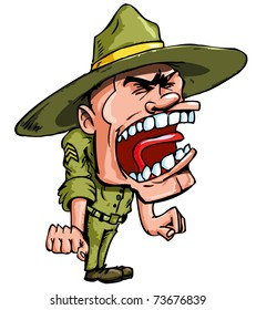 Angry cartoon drill sergeant screaming in anger