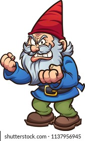 Angry cartoon gnome. Vector clip art illustration with simple gradients. All in a single layer.