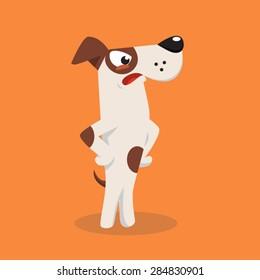 Angry cartoon jack russel dog. Vector illustration