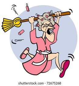Angry cartoon lady holding a broom while running and shouting.
