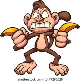 Angry cartoon monkey holding a couple of bananas clip art. Vector illustration with simple gradients.