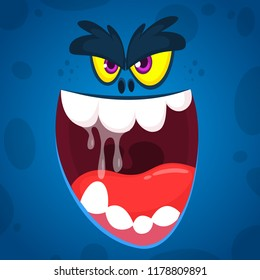 Angry  cartoon monster face illustration. Vector Halloween blue zombie monster. Big set of cartoon monster faces