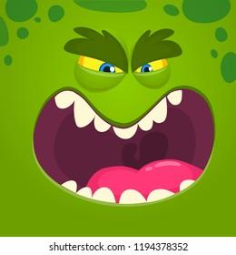 Angry cartoon monster face. Vector Halloween green monster character