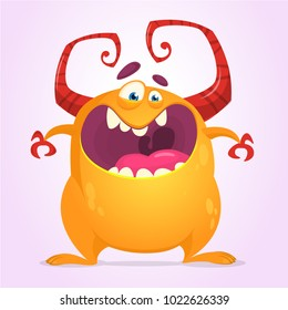 Angry cartoon monster. Halloween vector illustration of orange monster character. Design for print, sticker or party decoration
