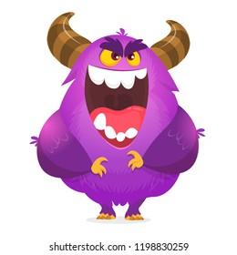Angry cartoon monster. Halloween vector illustration.