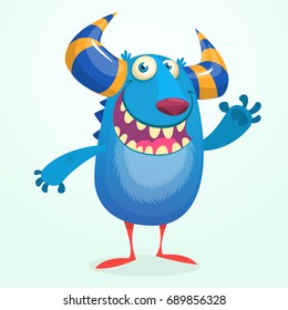 Angry cartoon monster. Halloween vector blue and horned monster. Funny troll character