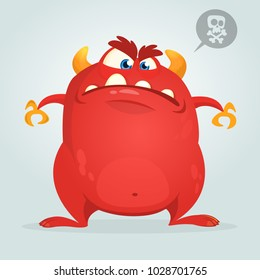 Angry cartoon monster showing teeth. Vector illustration of red monster character for Halloween