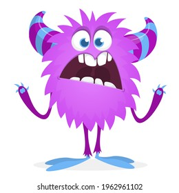Angry cartoon monster. Vector Halloween illustration isolated