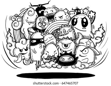 Angry cartoon monster.Hand drawn Crazy doodle Monster group, Halloween concept,drawing style.Vector illustration