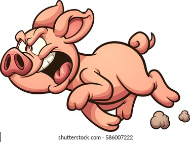 Angry cartoon pig. Vector clip art illustration with simple gradients. All in a single layer.