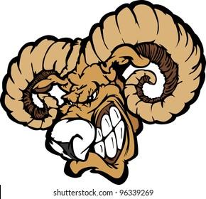 Angry Cartoon Ram Mascot Head with Horns